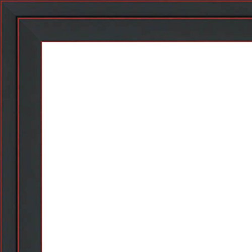 8.5x11 Black Two-Step Wood Frame w/ a Red Accent - 'Pinstripe' Thin - Great for Posters, Photos, Art Prints, Mirror, Chalk Boards, Cork Boards and Marker Boards - Makes a GREAT DIPLOMA FRAME (Mirror Frame Box)