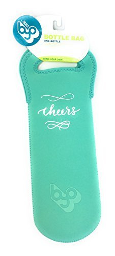 BYO by BUILT NY Neoprene Wine/Water Bottle Tote, Light Teal with Cheers Decoration