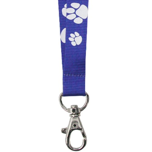 PinMarts Blue and White Paw Print School Mascot Sports Lanyard w/Safety Release by PinMart (Image #2)
