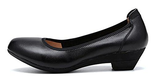 CHFSO Womens Classic Comfortable Solid Round Toe Slip On Low Top Mid Heel Work Pumps Shoes Black V08VW6dk