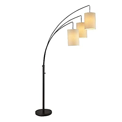 Mane Trinity Arc Floor Lamp- 800 Lumen Stylish Home Decor Floor Lamp With Beige Lamp Shades- For Living Rooms, Bedrooms, Offices, Dorms, and Studies- Matte Black Finish
