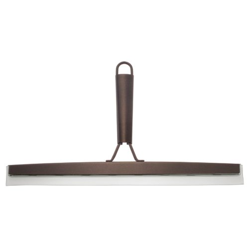 - InterDesign Forma Metal and Plastic Bathroom Squeegee for Shower, Glass Doors, Floors, Mirrors, with Suction Hook Holder, 12 inches, Bronze