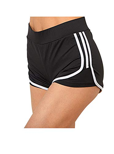 Little Beauty Running Yoga Shorts for Women - Activewear Workout Exercise Athletic Jogging Shorts 2-in-1 Black White S