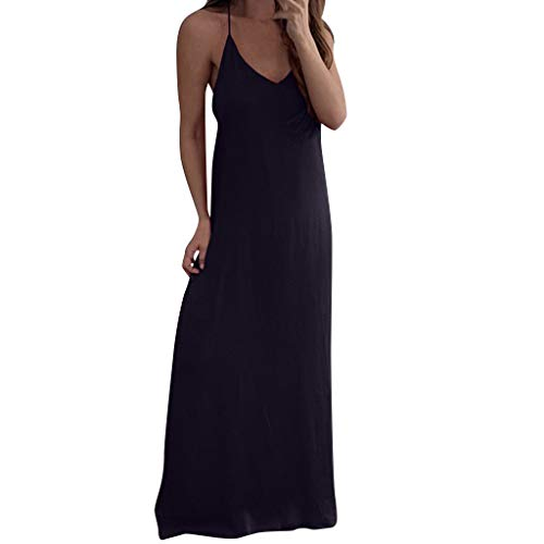 Keliay Dress for Women Summer,Women Sexy Sleeveless Spaghetti Strap Chiffon Vest Casual Loose Long Dress Black