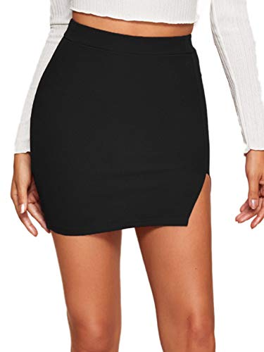 Verdusa Women's Casual Asymmetrical Slit Split Hem Bodycon Pencil Mini Skirt