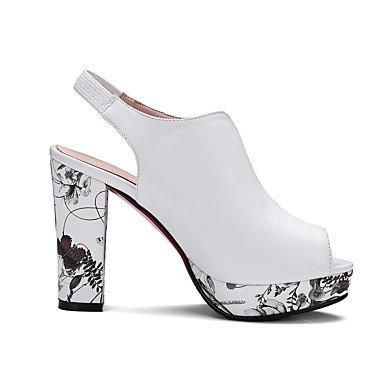 LvYuan Mujer-Tacón Robusto-Confort Zapatos del club-Sandalias-Boda Fiesta y Noche-PU-Negro Rojo Blanco White