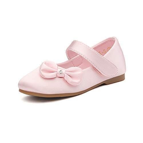 DREAM PAIRS Angel-5 Adorable Mary Jane Side Bow Buckle Strap Ballerina Flat (Toddler/Little Girl) New Pink Satin Size 5