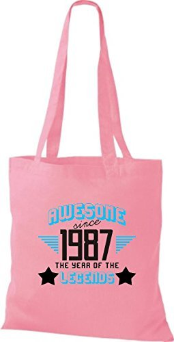 shirtstown Bolsa de tela AWESOME desde 1987 The Year Of The Legends Rosa