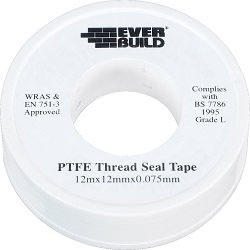 Everbuild PTFE Pipe Thread Seal Tape Pack of 10 White 12m x 12mm x 0.075mm