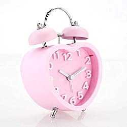 Twin Bell Alarm Clock,Heart-Shaped Children's Double Bell Alarm Clock Stainless Steel Mini Silent Clock Stereo Table Clock,Pink (Pink)