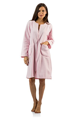 Casual Nights Women's Long Sleeve Zip up Front Short Fleece Robe - Pink - Medium