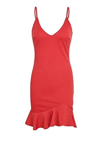 Nuit Robe Acecoree À Fines Maille Chemise Rouge De Coton Chic Femme Bretelles Elégant 1nqwOnfp