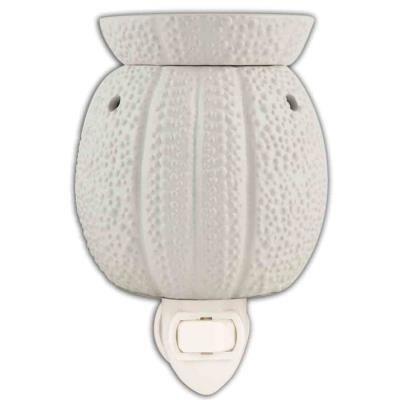 White Sea Urchin Design Ceramic Stoneware Plug-in Outlet Wax and Oil Warmer