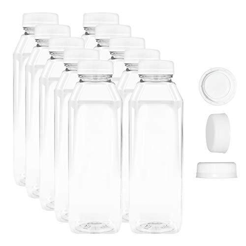 12 oz Empty Juice Bottles Reusable Clear Plastic Disposable Milk Containers with White Tamper Proof Caps Set of 10 ()