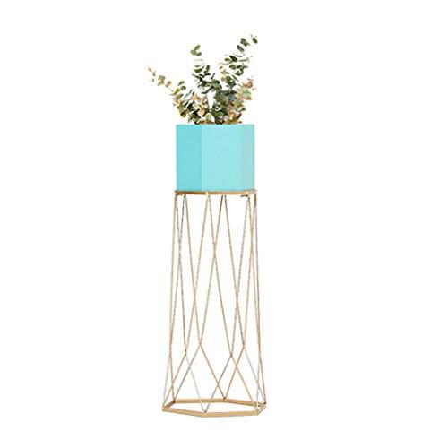 Lyhuajia Wrought Iron Green Plant Flower Stand Minimalist Rack Creative Balcony Indoor Living Room Floor Flower Shelf (Hexagon Barrel Powder + Gold Feet) (Color : ()