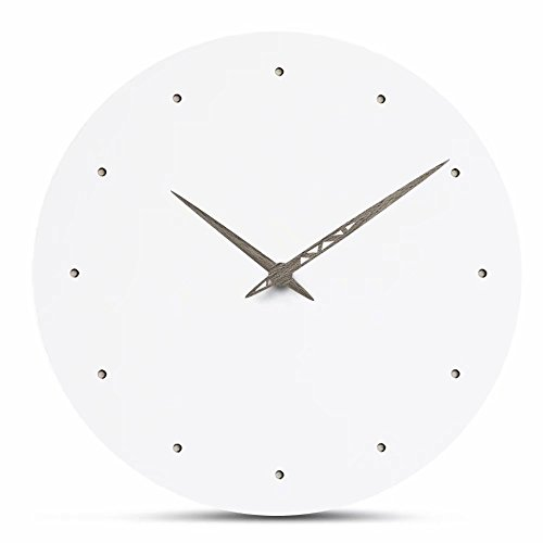FlorLife Modern Nordic Wooden Wall Clock Simple White MDF Hanging Round Wood Clock Mute Creative Quartz Clock Living Room Home Decoration