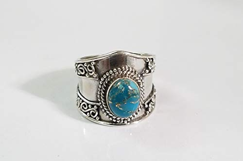 - Blue Copper Turquoise Ring.925 Sterling Silver.Southwestern Ring.Victorian & Filigree Ring.Wide Band Ring.Party Wear Ring.Simple Fabulous Collection.Natural Inspired Ring.Longevity Ring.Gift