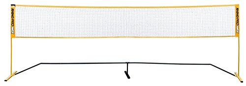Champion Sports Portable Volleyball Net: Adjustable 18 Foot Racquet Sport, Tennis, Badminton, and Game Net - Yellow