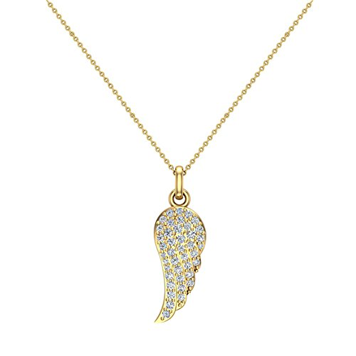 14k Yellow Gold Diamond Necklace (0.47 ct tw Angel Wing Diamond Pendant Necklace 14K Yellow Gold)