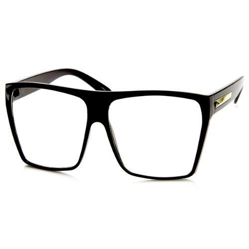Large Oversized Retro Fashion Clear Lens Square Glasses (Black)]()