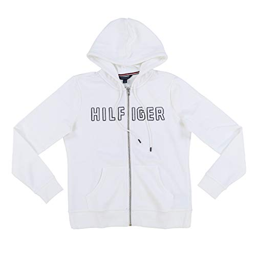 Tommy Hilfiger Womens Full Zip Hoodie with Applique Lettering (Medium, White)