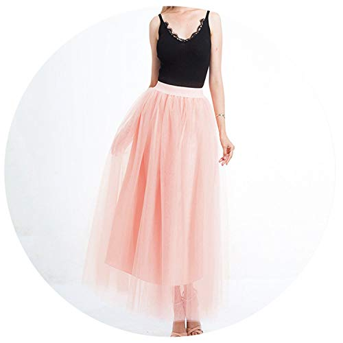 Princess Fairy Style 4 Layers Voile Tulle Skirt Bouffant Puffy Fashion Skirt Long Tutu,Peach,One Size ()