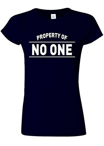 忠実にサラミカウンターパートProperty Of No One Novelty Navy Women T Shirt Top-L