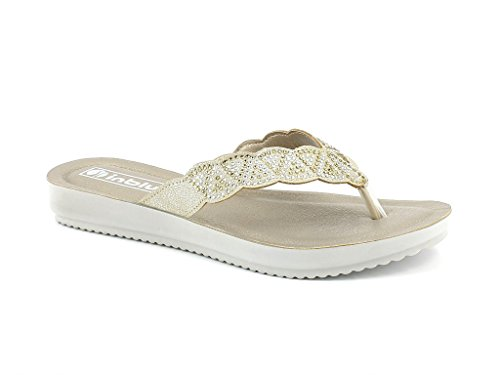 Diamante Everyday Toe Open Casual LONDON on AARZ Ladies Size Comfort Womens Sandals Shoes Flat Lightweight Gold Summer Slip YwntwX0q