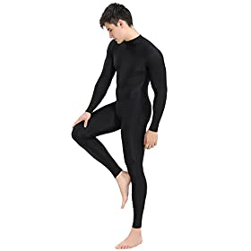 Speerise Mens Turtleneck Spandex Long Sleeve Unitard Bodysuit Dancewear Black L