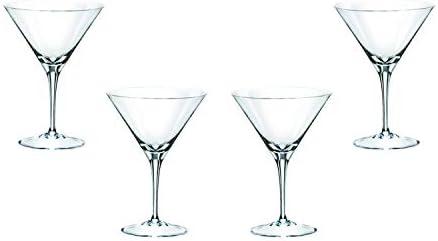 4 Modern Martini Stemmed Glasses Set 9 Oz Crystal Clear Glassware Set of