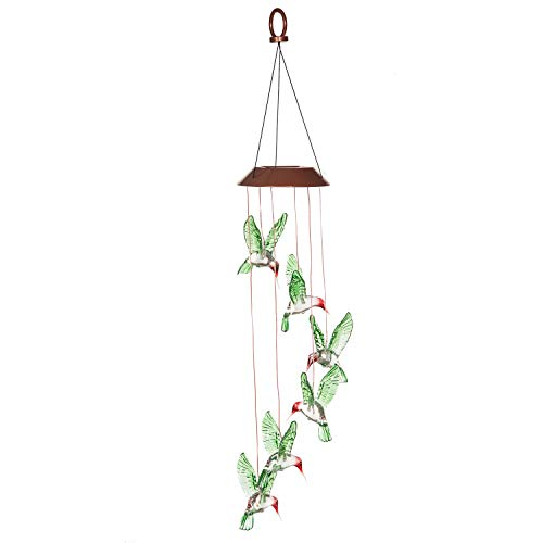 Goose Creek Solar Mobile Wind Chimes Color Changing Painted Hummingbird Review