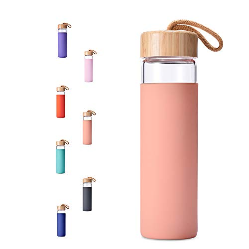 Yomious Borosilicate Glass Water Bottle with Bamboo Lid and Silicone Sleeve - 20 oz - BPA Free - Eco Friendly and Reusable - Leak Proof Design - Carry Strap Built Into Lid (Blooming Dahila)