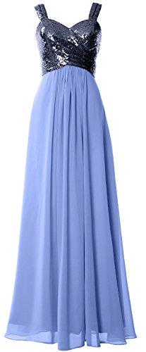 Macloth Femmes Bretelles Sequin À Long Capot Robe De Demoiselle D'honneur Robe Formelle Retour De Mariage Bleu Marine Foncé