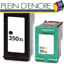 Pack 2 cartuchos de tinta N ° XL 350 y 351 XL N °, gran capacidad,