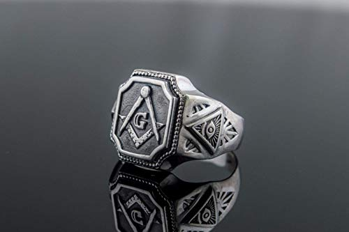 Masonic Symbol Ring Sterling Silver Handcrafted...