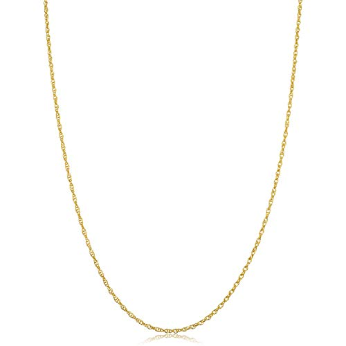 Kooljewelry Solid 14k Yellow Gold Rope Chain Necklace (1.3 mm, 24 inch) ()