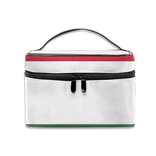 CAKSIDA Flag of Hungary Makeup Bag Professional Train Case Portable Storage Bag Travel Cosmetic Case for Women ()