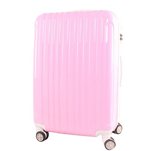 CHENGYANG Business Valigia Spinner Trolley Bagaglio a Mano e Manico Telescopico Valigia Cabina Durevole Valigie da Viaggio Valigetta Policarbonato Pink 60cm