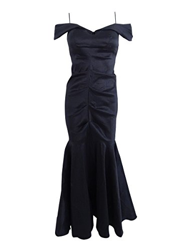 Xscape Women's Petite Off-The-Shoulder Ruched Mermaid Gown (14P, Black)