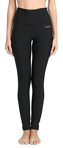 Ubestyle UPF 50+ High Waist Women's Leggings Swimming Tights Sun Protective (XL, Black) (Black Leggings Flame)