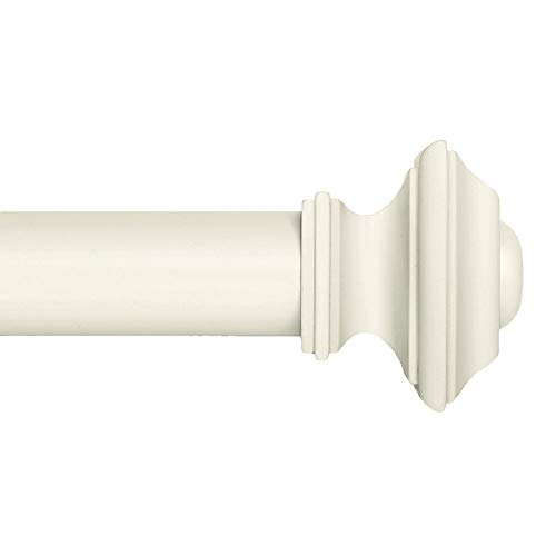 Ivilon Drapery Treatment Window Curtain Rod - Square Design 1 1/8 Rod. 120 to 240 Inch - Ivory/White (Contemporary Curtain Rod)