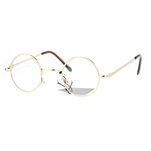 Super Small Clear Lens Glasses Round Circle Metal Frame Spring Hinge UV400 Gold