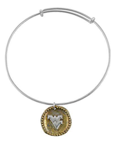 NCAA West Virginia Mountaineers .925 Sterling Silver Antique Coin Adjustable Bracelet, WVU (Wvu Basketball)
