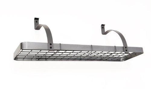 Rack It Up Long Bookshelf Wall Pot Rack, Steel Gray