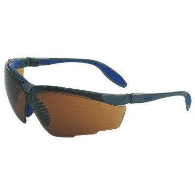 Uvex S3501 Genesis X2 Safety Eyewear, Silver and Navy Frame, Espresso Ultra-Dura Hardcoat Lens
