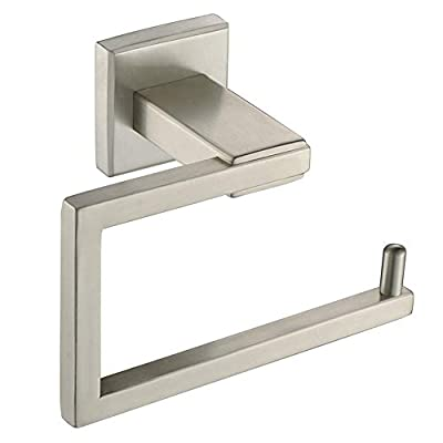 Square Toilet Paper Holder, Angle Simple SUS304 Stainless Steel Bathroom Tissue Holder, Open Side Toilet Tissue Hanger, Toilet Paper Dispenser, Lavatory Tissue Roll Holder Wall Mount, Brushed Nickel
