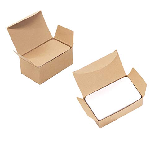 2Boxes(200PCS) White and Brown Blank Rectangular Paper Cards with Rounded Corners Word Handwritten Card DIY Bookmark Small Cardboard Tags for Doodling Remembering Words Leaving Message Hand Drawn ()