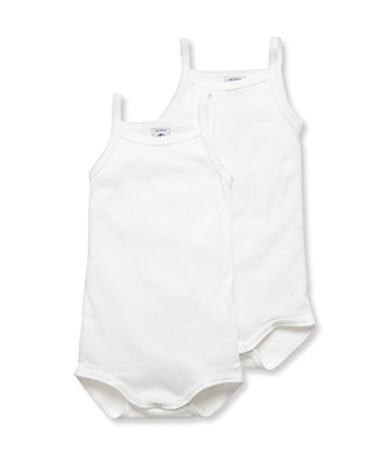 Petit Bateau 2 Pack White Tank Bodysuits (6M (26 1/2 inches), white)