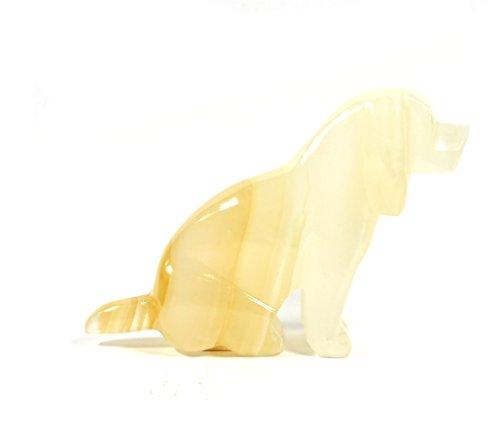 Polished Amber Stone Sitting Dog Figure, 4.5