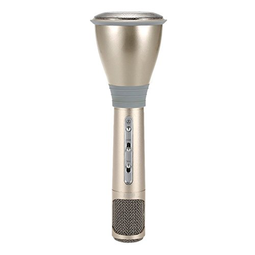 Best-electric K068 Portable Bluetooth Karaoke Microphone Wireless Condenser Handheld Microphone with Mic Speaker KTV Singing Record for Smart Phones Compute, Gold (Compute Speaker)